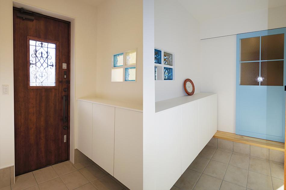 玄関ドア,おしゃれな玄関,水色の建具