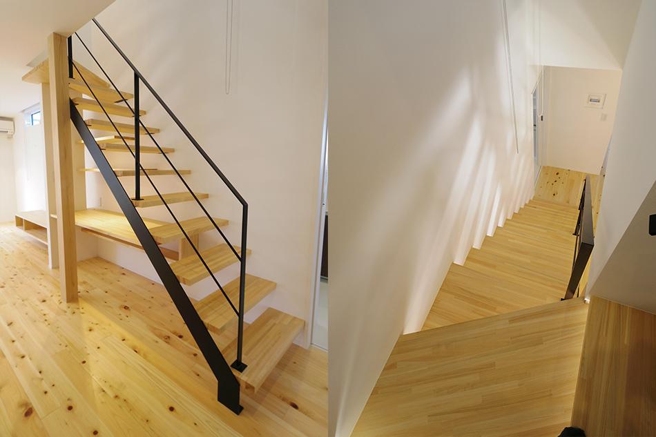 黒いスチール階段,手すり