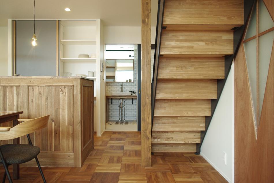 パーケットの床,無垢フローリング,キッチン