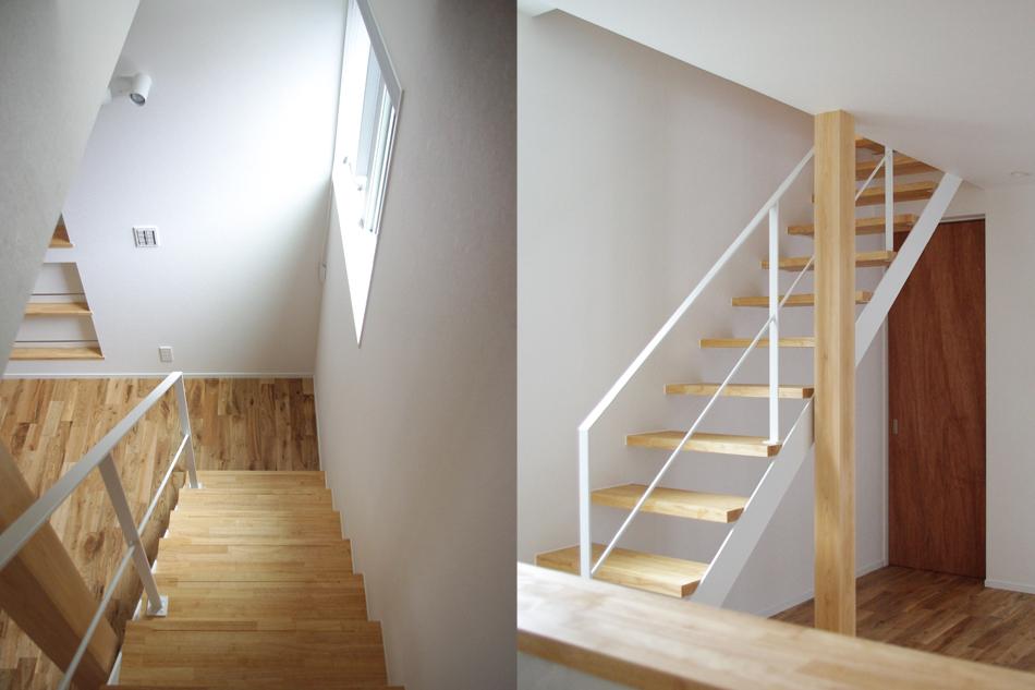 階段上から,白い手すり,スチール階段